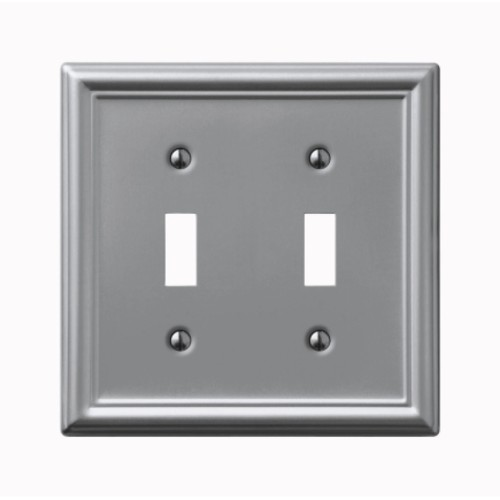 Amerelle 2 Toggle Brushed Nickel Chelsea Wall Plate (149TTBN)