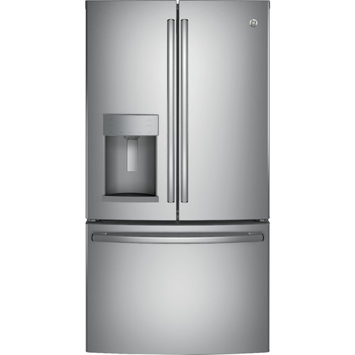 GE - 22.2 Cu. Ft. French Door Counter-Depth Refrigerator - Stainless steel