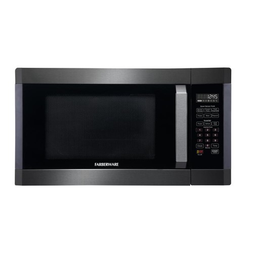 Farberware Black 1.6 cu. ft.1300-Watt Countertop Microwave in Stainless Steel with Smart Sensor Cooking