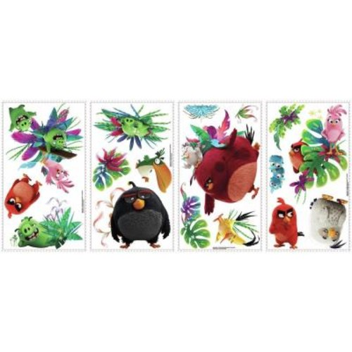 RoomMates 5 in. x 11.5 in. Angry Birds the Movie 17-Piece Peel and Stick Wall Decal