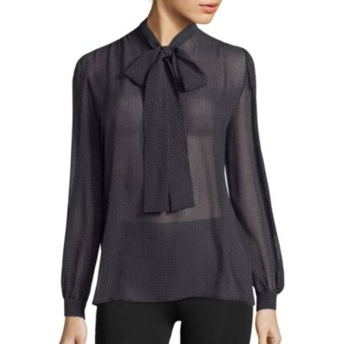 SAINT LAURENT Mini Polka Dot Lavelliere Blouse