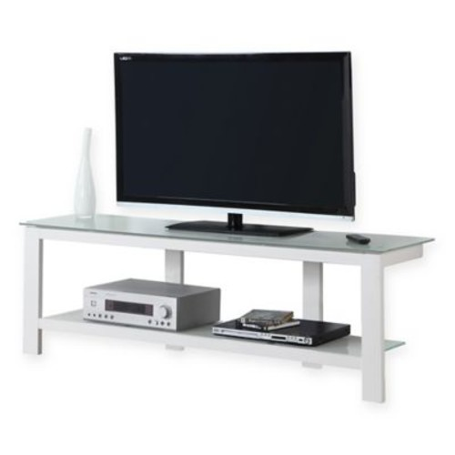 Monarch Specialties Tempered Glass 60-Inch TV Stand in White