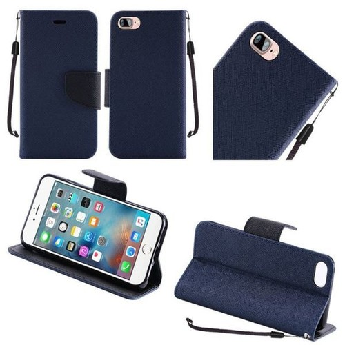 Insten Blue Leather Case Cover Lanyard with Stand For Apple iPhone 7