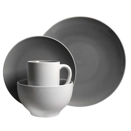 Gibson Serenity Gray 16 Piece Dinnerware Set- Gray