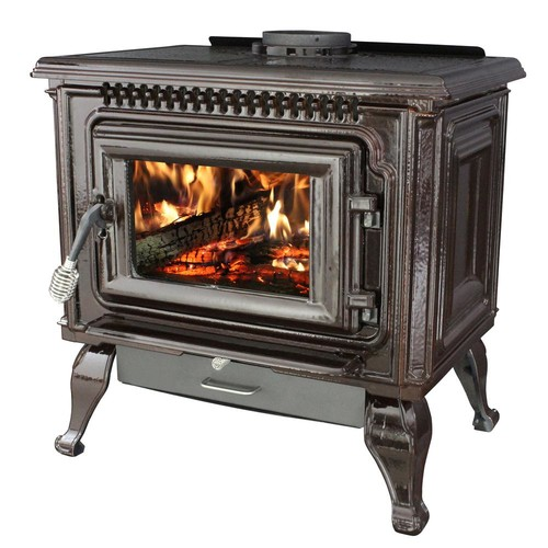 Ashley Hearth Products 2,000 Sq. Ft. EPA Certified Mahogany Enameled Porcelain Cast Iron Wood stove with Blower