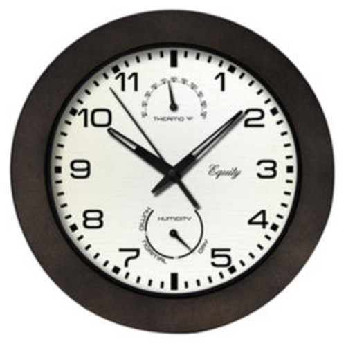 Equity 404-2631 Wall Clock with Temperature & Humidity Gauges, Black, 10