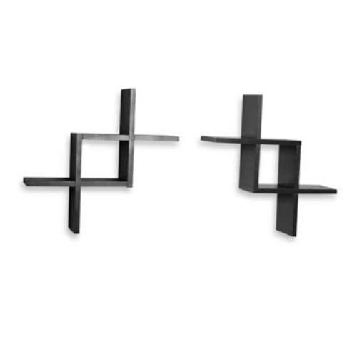 Criss Cross Floating Wall Shelves in Black (Set of 2)