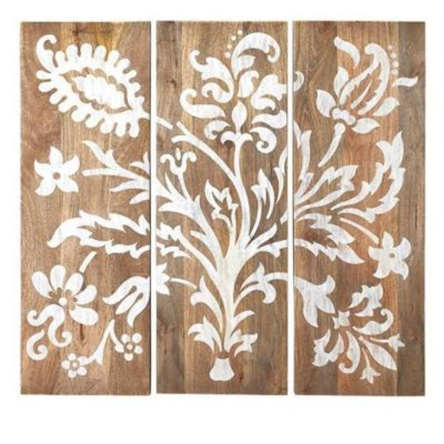 Home Decorators Collection 40 in. H x 14 in. W Grey Faria Wood Wall Panel (Set of 3)