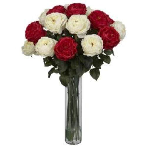 31 in. H Red White Fancy Rose Silk Flower Arrangement
