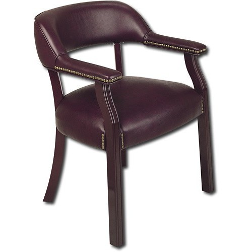 Office Star Padded Vinyl Seat and Back Traditional Guest Chair with Nailhead Accents and Mahogany Finish Wood Frame, Jamestown [Mahogany]