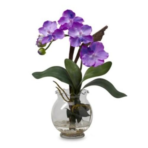 Mini Vanda with Fluted Vase Silk Flower Arrangement