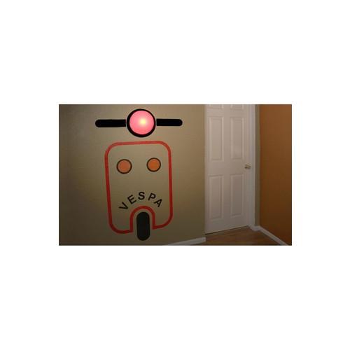 Wireless Pink Scooter Wall Sticker Lamp