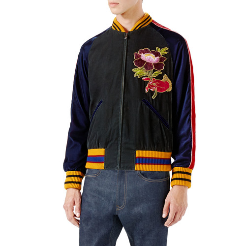 GUCCI Velvet Bomber Jacket W/Embroideries, Multicolor