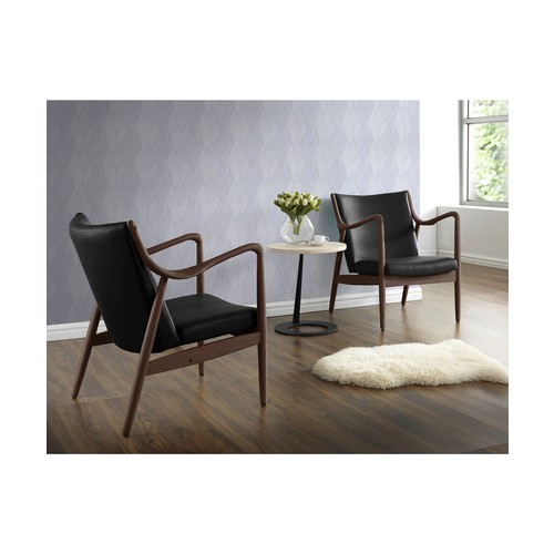 Baxton Studio Shakespeare Mid-Century Modern Retro Black Faux Leather Upholstered Leisure Accent Chair in Walnut Wood Frame