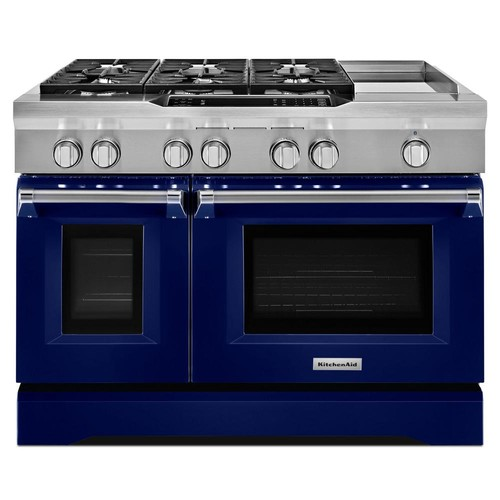 KitchenAid 48 in. 6.3 cu. ft. Dual Fuel Range Double Oven with Convection Oven in Cobalt Blue