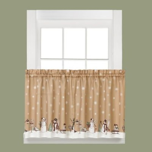 Saturday Knight Aspen Snow Tier Curtain (Set of 2); 36'' H x 57'' W