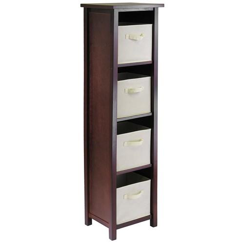 Winsome Wood Verona Wood 5 Tier Open Cabinet with 4 Beige Folding Fabric Baskets [Brown, beige basket]