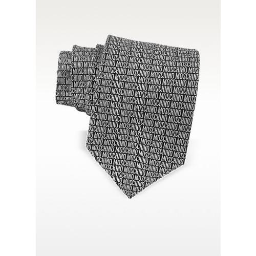 Moschino Signature Print Black & Gray Jacquard Silk Tie
