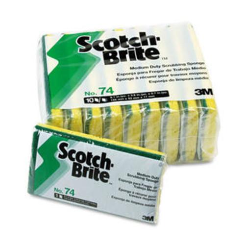 Scotch-Brite PROFESSIONAL Medium-Duty Scrubbing Sponge, 3 1/2 x 6 1/4, 10/Pack