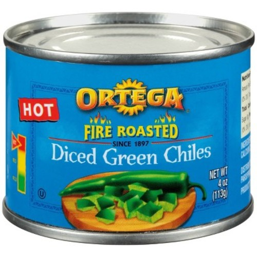 Ortega Hot Diced Green Fire Roasted Chiles 4 oz