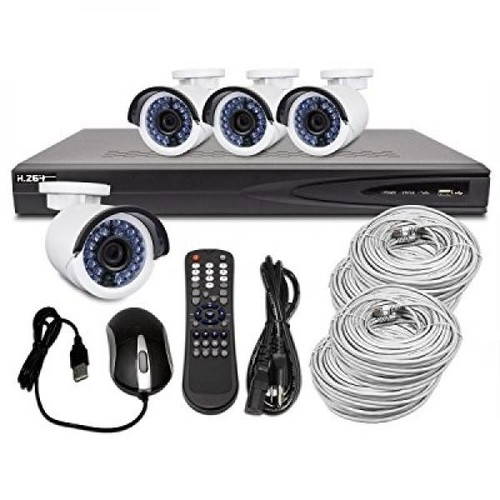 r-tech surveillance system with 4 channel 1080p network video recorder nvr including 4 built-in poe ports, 1tb hard drive and 4 1.3 megapixel night/day outdoor ip bullet security cameras