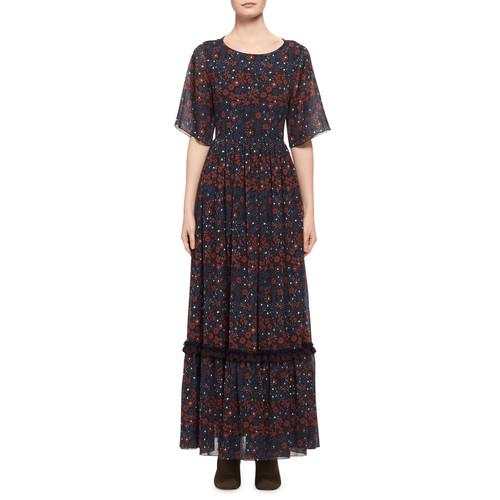 CHLOE Half-Sleeve Floral Open-Back Maxi Dress, Blue Pattern