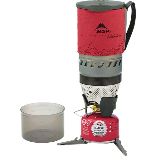 MSR WindBurner Stove System for Fast Boiling Fuel-Efficient Cooking for Backpacking, Solo Travelers, and Minimalist Trips [Red, 1.0-Liter]