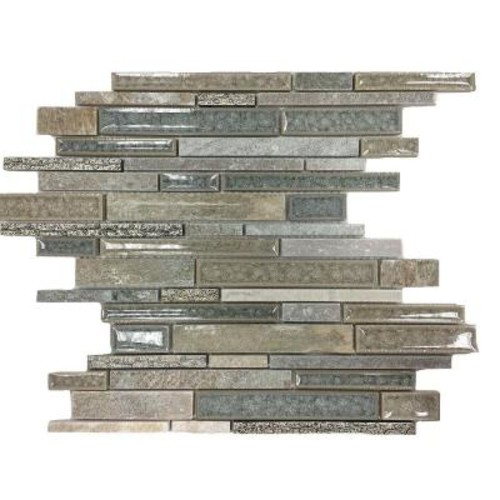 Splashback Tile Olive Branch Green Quartz Glass and Stone Mosaic Tile - 3 in. x 6 in. Tile Sample