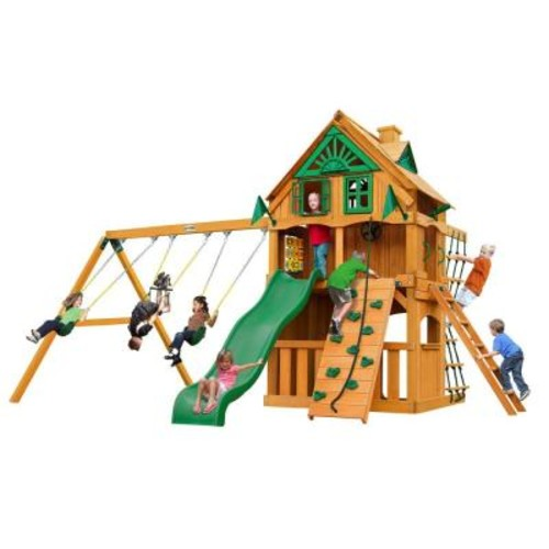 Gorilla Playsets Chateau Clubhouse Treehouse with Fort Add-On and Amber Posts Cedar Playset