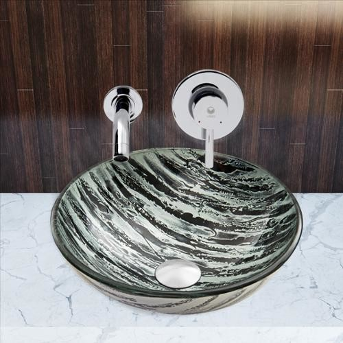 VIGO Glass Vessel Sink in Rising Moon with Olus Wall-Mount Faucet Set in Chrome