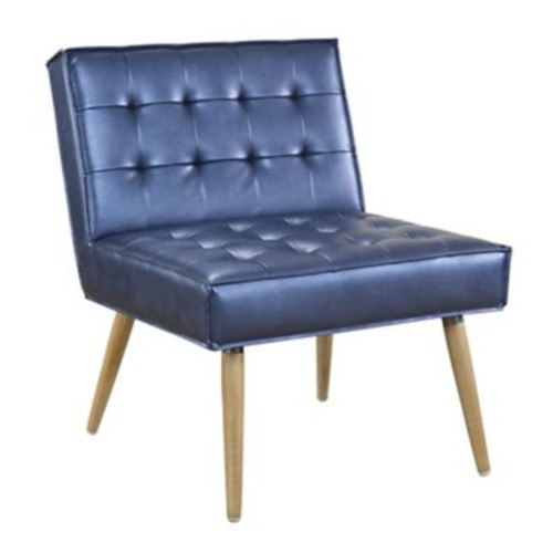 Ave Six Amity Tufted Accent Chair with Natural Wood Finish & Sizzle Azure Faux Leather Fabric (AMT51T-S54)