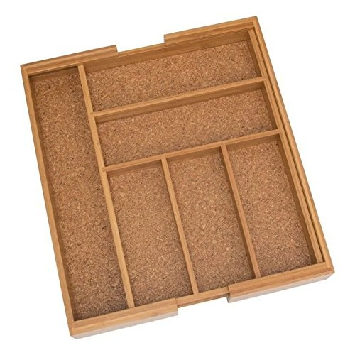 Lipper International Bamboo and Cork Expandable Flatware Organizer