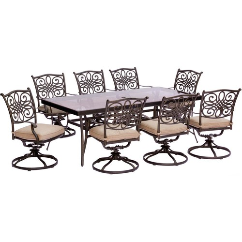 Hanover Traditions 9-Piece Aluminum Outdoor Dining Set with Rectangular Glass Table and Swivel Chairs with Natural Oat Cushions