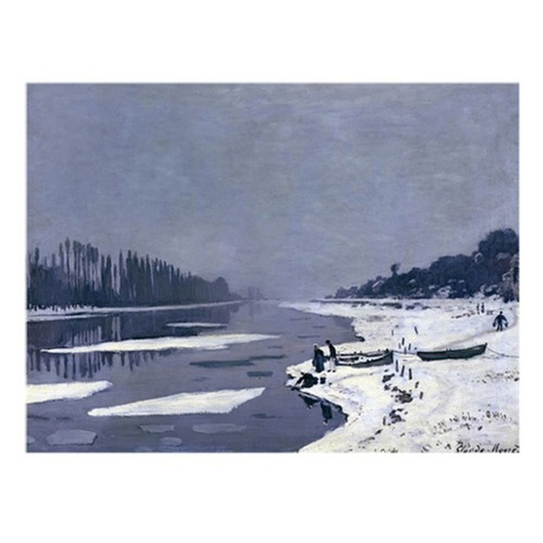 Ice on Seine at Bougival 1867-8 by Claude Monet, 26 by 32-Inch Canvas Wall Art