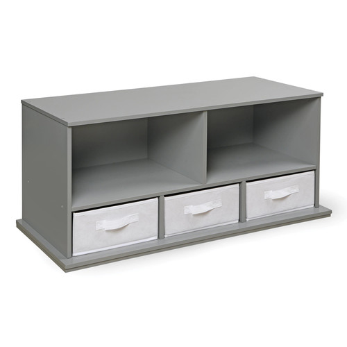 Badger Basket Shelf Storage Cubby with 3 Baskets - Gray