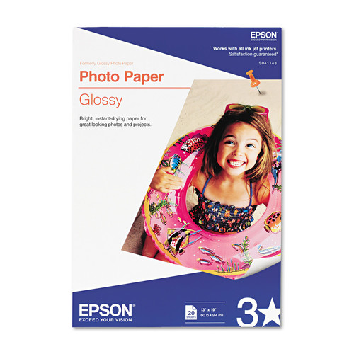 Epson Photo Paper Glossy, 13 x 19 Inches, 20 Sheets (S041143)