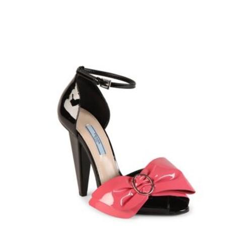 PRADA Patent Leather Bow Peep Toe Sandals