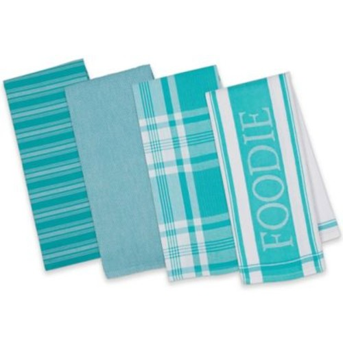Design Imports 4-Piece Gourmet Patterned Kitchen Towel Set in Turquoise