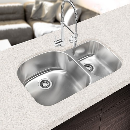 Designer Collection 32.375-inch 16-gauge 70/30 Double Bowl Kitchen Sink