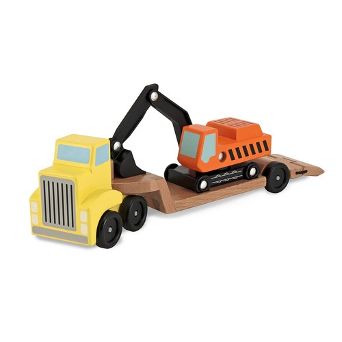 Melissa & Doug Trailer and Excavator Wooden Vehicle Set (3 pcs)