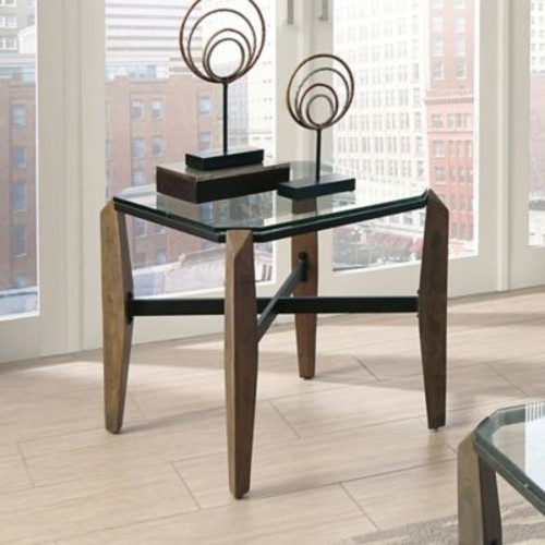 Donny Osmond Tempered Glass Home End Table in Rustic Finish