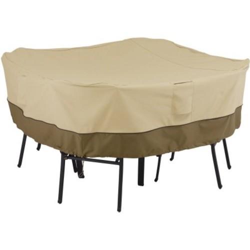Classic Accessories Veranda Square Table and Chair Patio Furniture Storage Cover, Medium, Pebble/Bark/Earth