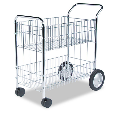 Fellowes 40912 Wire Mail Cart, 21-1/2w x 37-1/2d x 39-1/4h, Chrome