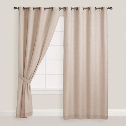 Natural Linen Grommet Top Curtains, Set of 2