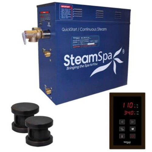 SteamSpa Oasis 12kW QuickStart Steam Bath Generator Package in Polished Oil Rubbed Bronze