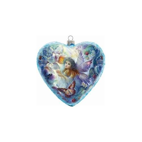 G Debrekht Holiday Limited Edition Flower Fairy Glass Heart Ornament