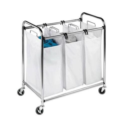 Honey-Can-Do Chrome Heavy-Duty Triple Laundry Sorter