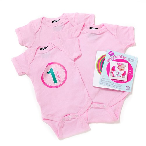 Mint - Belly Banter Baby Body Suit 3 Pack and 15 Stickers - Watch Me Grow Newborn Baby Gift Set - Gender Neutral Baby Clothes - Perfect Baby Bodysuits Baby Shower Gift Set +15 BONUS Stickers For Baby Photo Journals [Mint]