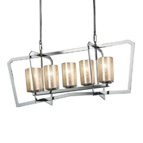 Fusion Aria 5-Light Chandelier [Finish : Polished Chrome; Light Option : Incandescent; Shade Design : Mercury]