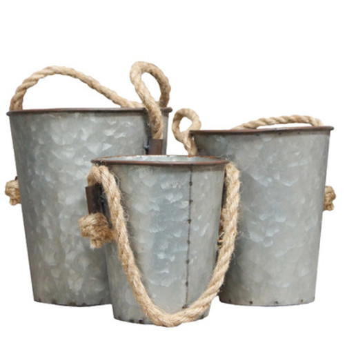 Decorative Metal 3 Piece Bucket Set